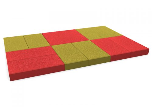 pavele 20x10 texturata piese rosu cu galben